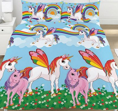 Rainbow Unicorns Double Duvet
