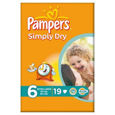 Pampers Simply Dry Size 6 Carry Pack - 19 nappies