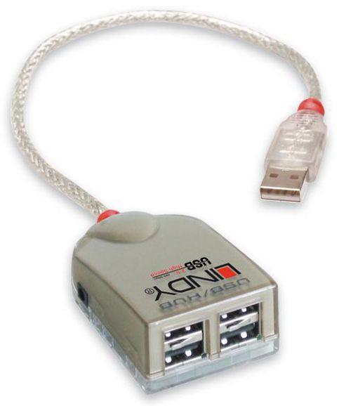LINDY USB Hub - 4 Port USB 2.0 Smart Hub Bus Powered.