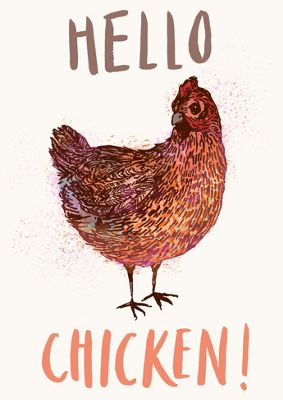 Home & Dry Tea Towel, Hello Chicken