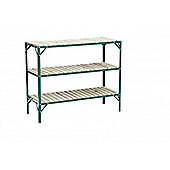 Simplicity Caverswall Staging / Bench Wooden Slat Greenhouse Staging 2ft Wide (Green, 4ft long 3 tier)