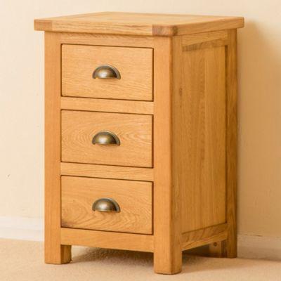Roseland Oak Bedside Table - 3 Drawer Bedside - Waxed Oak