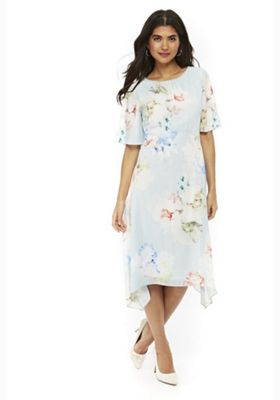 Wallis Petite Floaty Floral Dress Light Blue 14