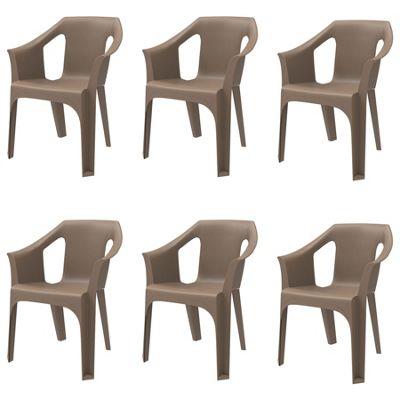Resol Cool Designer Plastic Home Garden Outdoor Armchair - Chocolate - Pack of 6