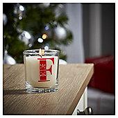 Tesco Alphabet Christmas Filled Candle Jar F