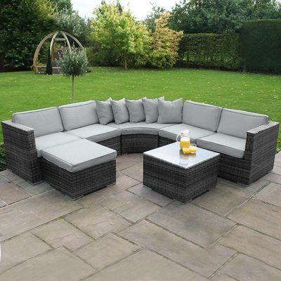 Maze Rattan - Barcelona Rattan Corner Sofa Set - Grey
