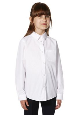 F&F School 2 Pack of Girls Easy Care Long Sleeve Shirts 12-13 years White