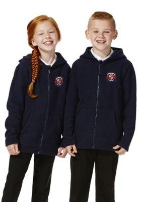 Unisex Embroidered School Zip-Through Fleece with Hood 5-6 years Navy