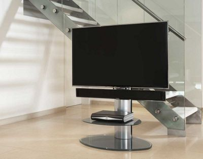Off-The-Wall Motion Silver Cantilever TV Stand
