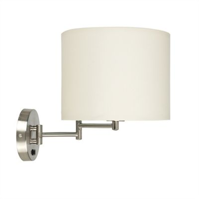 MiniSun Sinatra Swing Arm Brushed Chrome LED Wall Light - Beige