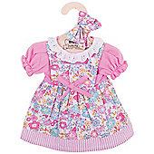 Bigjigs Toys Pink Floral Rag Doll Dress for 38cm Soft Doll with Additional Matching Hair Accessories