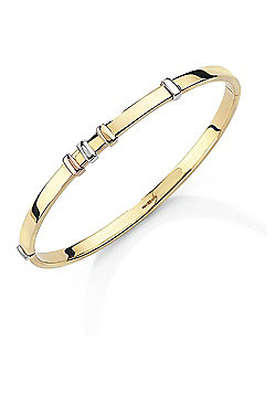 Jewelco London 9ct White, Rose & Yellow Gold - Bangle
