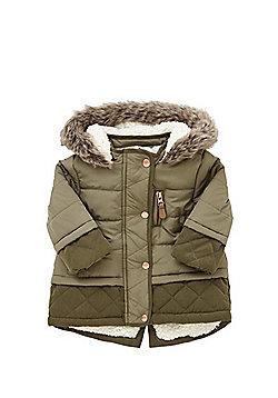 F&F Faux Sheepskin Lined Padded Coat - Khaki