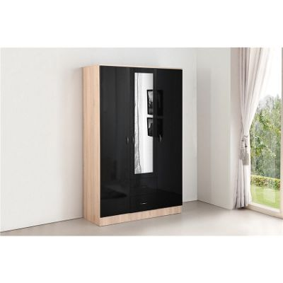 Kanya 3 Door 2 Drawer Mirror Wardrobe - Black & Oak