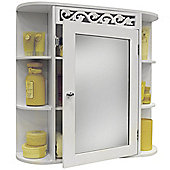 Wall Mounted Bathroom Mirror Wall Storage Cabinet With Shelves - White