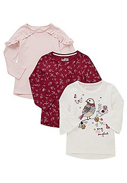 F&F 3 Pack of Bird Motif Flute Sleeve and Frill T-Shirts - Pink