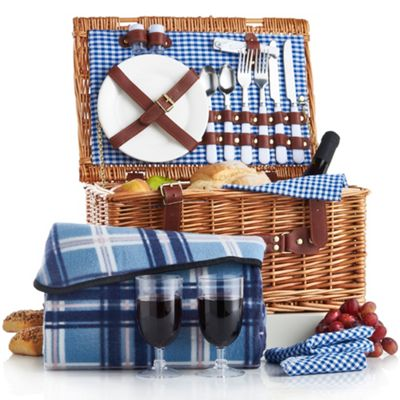 VonShef Deluxe 2 Person Traditional Wicker Picnic Basket Hamper Set