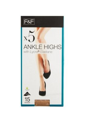 F&F 5 Pair Pack of 15 Denier Ankle Highs One Size Natural