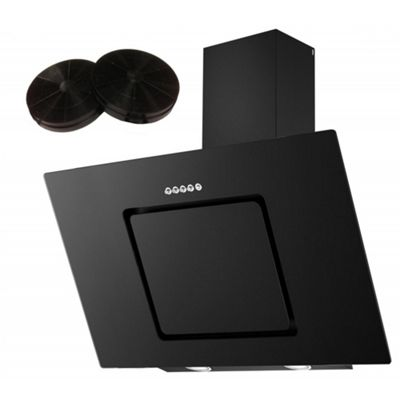 Cookology VER900BK Black Angled Glass Chimney Cooker Hood   90cm Extractor Fan with Carbon Filters
