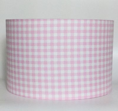 Pink Gingham, Large Fabric Light Shade