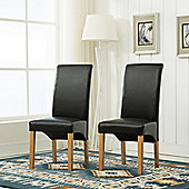 Set of 2 faux Leather Dining Chairs Roll Top Scroll High Back (Black)