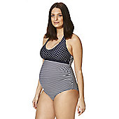 F&F Striped and Polka Dot Maternity Swimsuit - Blue