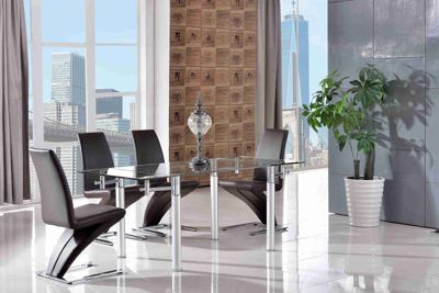 Verona Glass and Aluminium 120 - 180 cm Dining Table with 4 Brown Zed Chairs