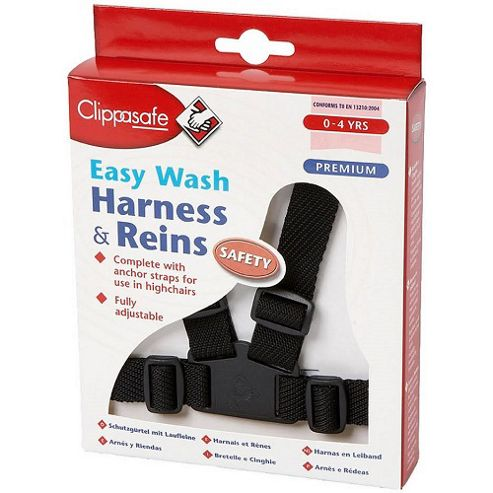 Clippasafe Easy Wash Harness & Reins - Black