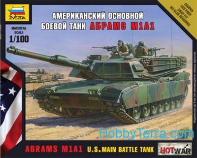 Zvezda Model Kit - Abrams M1A1 US Main Battle Tank - 1:100 Scale -