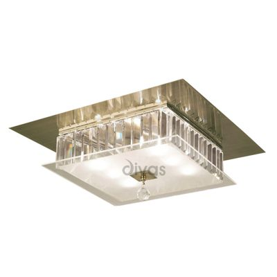 Tosca Ceiling Square 6 Light Antique Brass/Glass/Crystal