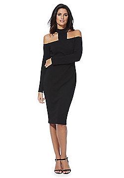 AX Paris Bardot Choker Detail Bodycon Dress - Black