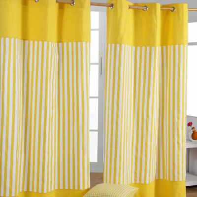 Homescapes Thick Yellow Stripe Ready Made Eyelet Curtain Pair, 137 x 228 cm Drop
