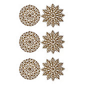 Pack of 6 Gold Glitter Snowflake Hanging Decorations 12cm