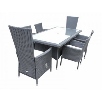 Cambridge 2 Reclining + 4 Non-Reclining Chairs And Large Rectangular Table Set in Black and Vanilla