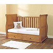 East Coast Oak Sleigh Cotbed with Drawer