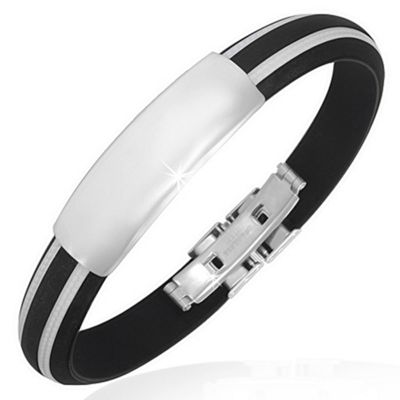 Urban Male Black & White Rubber Men's Stainless Steel ID Bangle