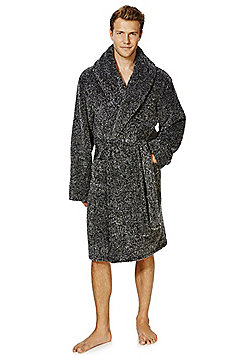 F&F Marl Dressing Gown - Black