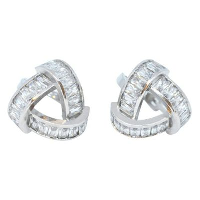 Triangular Silver Plated Clear Cubic Zirconia Stud Earrings