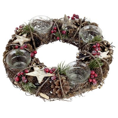 28cm Christmas Wicker Wreath Tea Light Holder Centrepiece Decoration