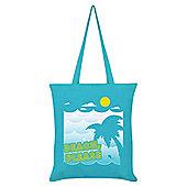 Beach Please Tote Bag 38x42cm Azure Blue