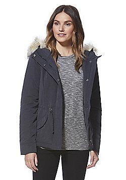 Only Faux Fur Trim Short Parka - Grey