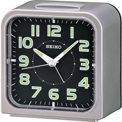 Seiko QHK025S Wecker Bedside Alarm Clock│Snooze│Lumibrite Dial│Silver│Black Face