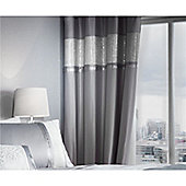 Catherine Lansfield Luxor Jacquard Eyelet Curtains - Silver