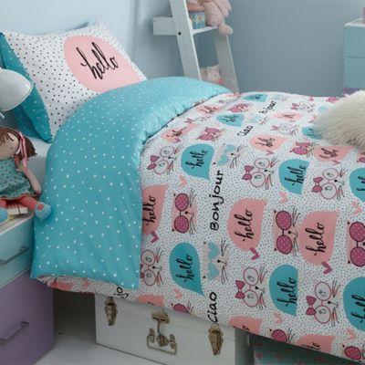 Dreamscene Duvet Cover Set, Kitty Reversible Hello - Single
