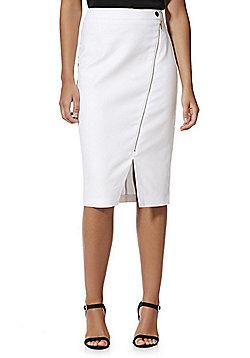 F&F Asymmetric Zip Pencil Skirt - White