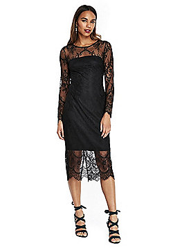Wallis Lace Overlay Long Sleeve Midi Dress - Black