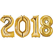"""""""2018 Gold Foil Balloon Numbers - 34"""""""" Foil"""""""