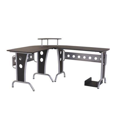 Homcom Corner Computer Pc Desk Home Office Furniture Writing Workstation Black