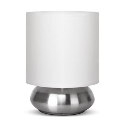Brushed Chrome Touch Table Lamp & White