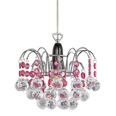 Modern Waterfall Pendant Light Shade with Clear/Pink Acrylic Decor
